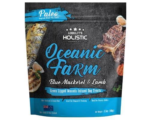 Absolute Holistic Air Dried Dog Treats - Oceanic Farm Blue Mackerel & Lamb 100gm