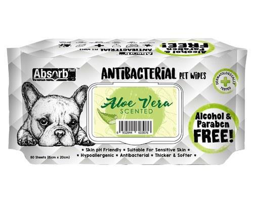 Absorb Plus Antibacterial Pet Wipes - Aloe Vera 80 Sheets