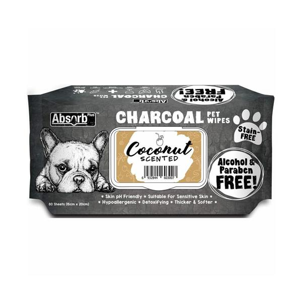 Absorb Plus Charcoal Pet Wipes Coconut 80 Pack