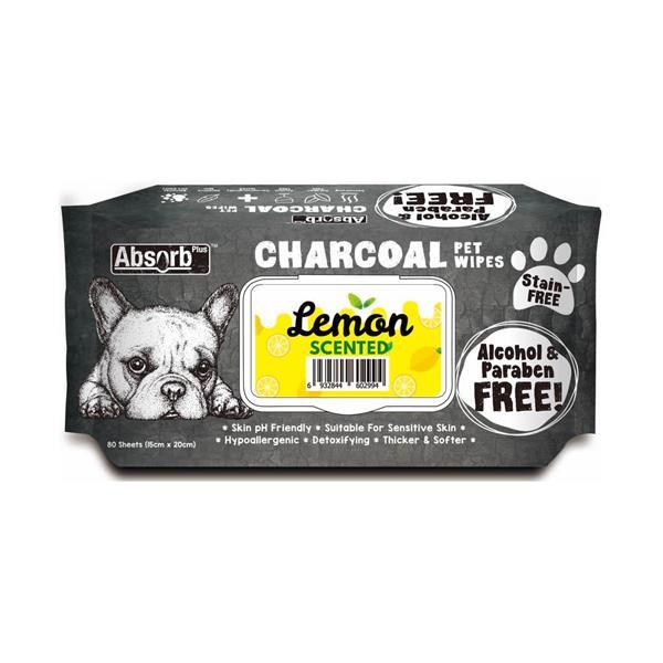 Absorb Plus Charcoal Pet Wipes Lemon 80 Pack