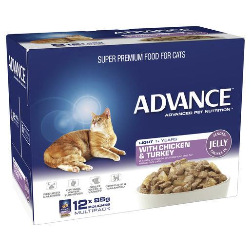 Advance Adult Cat Light Chicken & Turkey in Jelly Wet Cat Food 12x85g