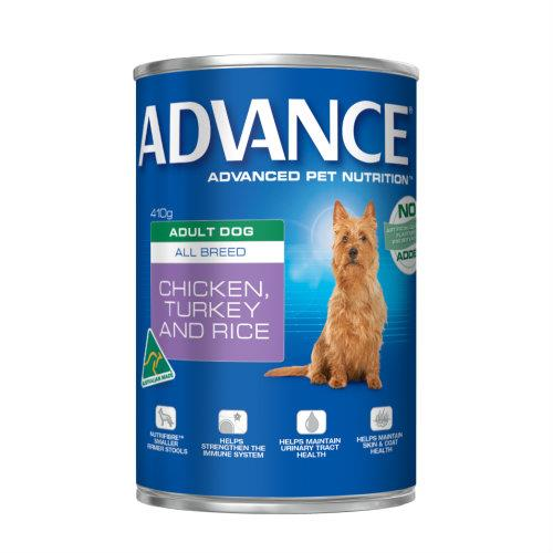 Advance Adult Chicken, Turkey and Rice Cans 12 x 410g