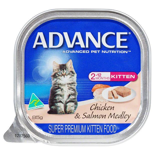 Advance Kitten Salmon And Chicken Medley Wet Cat Food Trays 7 X 85g