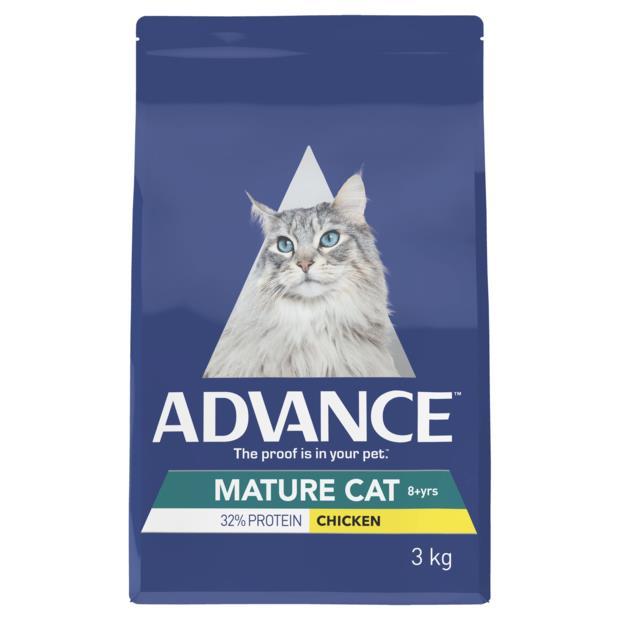 Advance Mature Dry Cat Food Chicken 2 X 3kg