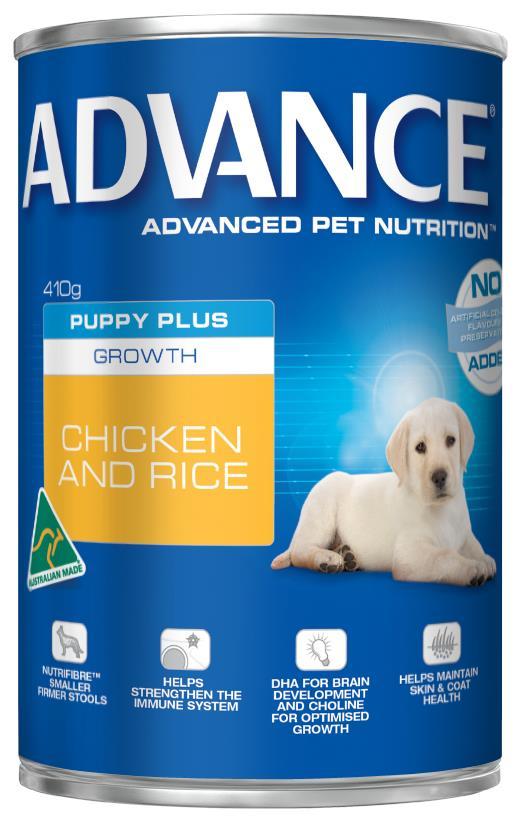 Advance Puppy Plus Growth Chicken & Rice Wet Dog Food 12x410g