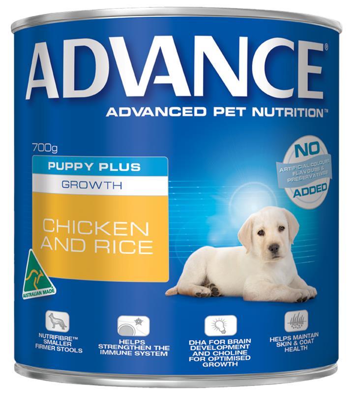 Advance Puppy Plus Growth Chicken & Rice Wet Dog Food 12x700g
