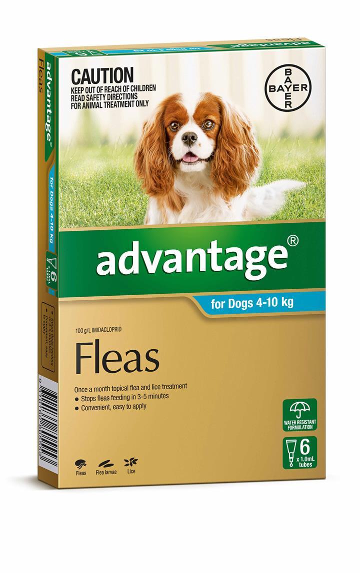Advantage Flea Treatment for Medium Dogs 4-10kg Pack of 6