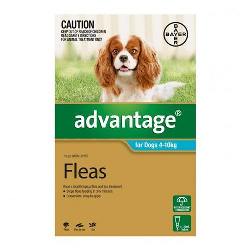 Advantage For Dogs 4-10Kg Aqua 4 Pack