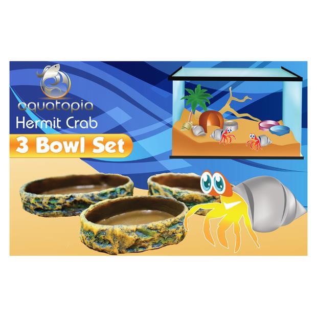 Aquatopia Hermit Crab Three Bowl Set Each