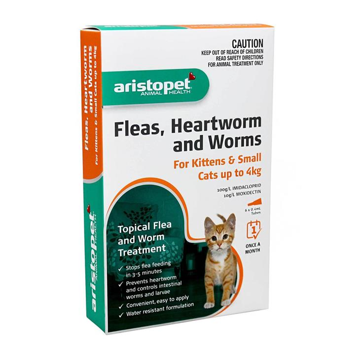 Aristopet Spot-on Flea, Heartworm & All-Wormer - Cats & Kittens up to 4kg 3-pack