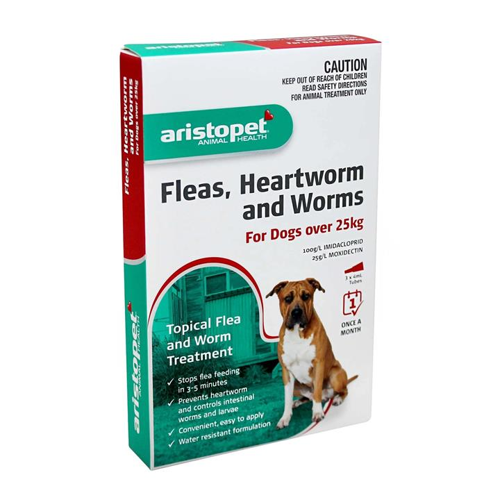 Aristopet Spot-on Flea, Heartworm & All-Wormer - Dogs over 25kg 3-pack