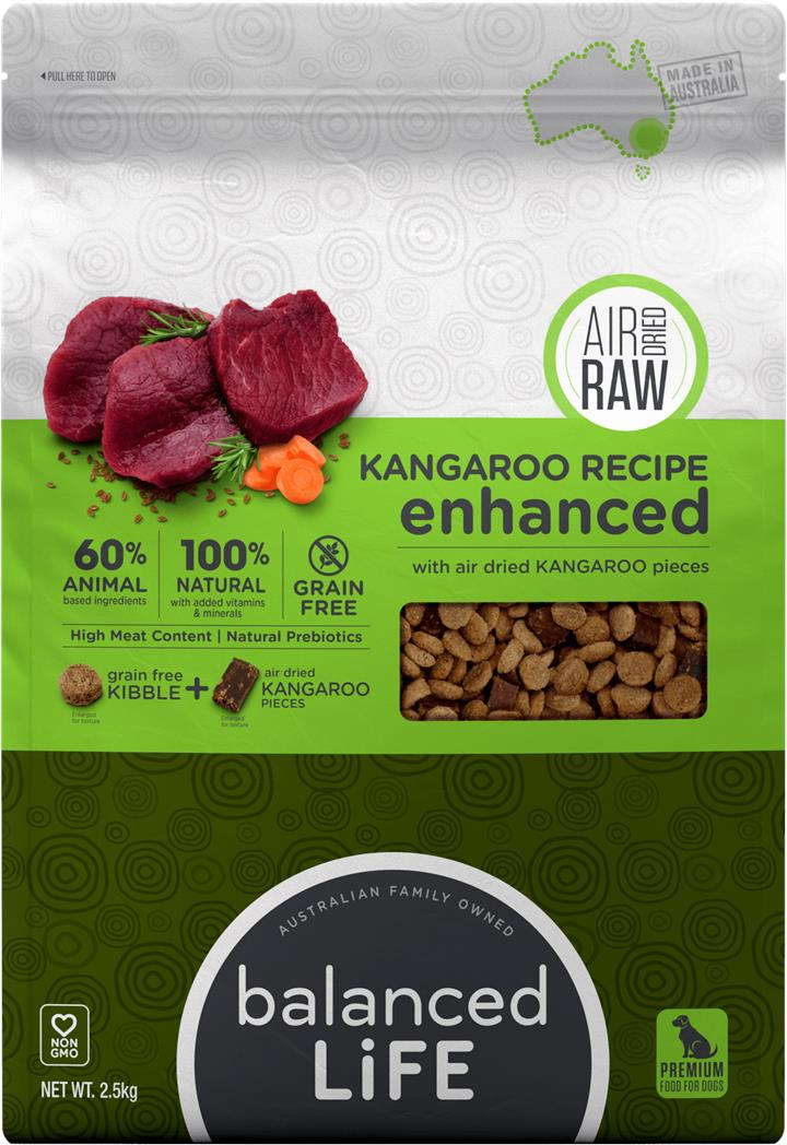 Balanced Life Enhanced Dry Dog Food With Kangaroo Meat Pieces 2.5kg