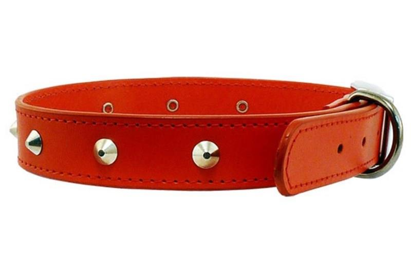 Beau Pets Deluxe Sewn Leather Stud Dog Collar Red