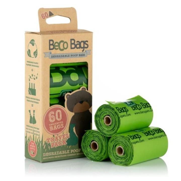 Beco Pets Unscented Degradable Dog Poop Bags 60 Pack