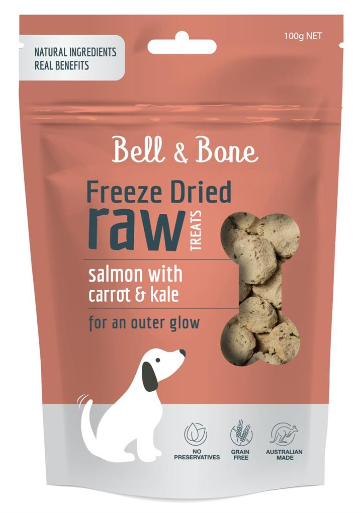 Bell & Bone Freeze Dried Raw Dog Treats Salmon Carrot & Kale 100g