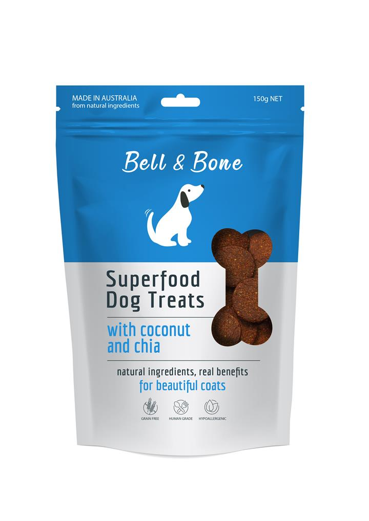 Bell & Bone Superfood Dog Treats Coconut and Chia 150g