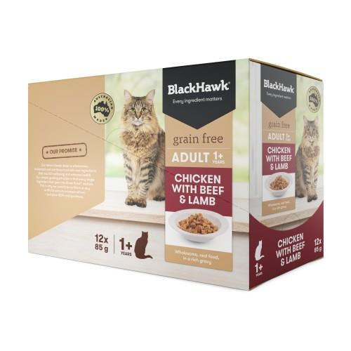 Black Hawk Adult Cat Chicken, Beef and Lamb Pouches 12 x 85g