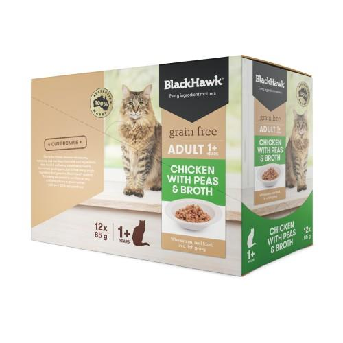 Black Hawk Adult Cat Chicken, Peas and Broth Pouches 12 x 85g