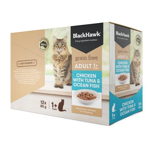 Black Hawk Adult Cat Chicken, Tuna and Fish Pouches 12 x 85g