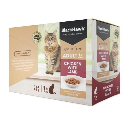 Black Hawk Adult Cat Chicken and Lamb Pouches 12 x 85g
