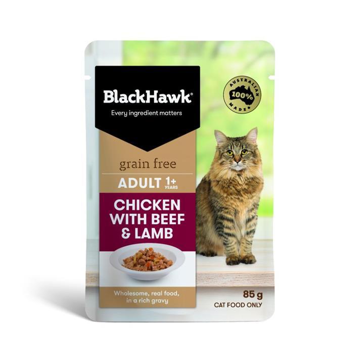 Black Hawk Adult Chicken with Beef & Lamb Wet Cat Food 12x85g