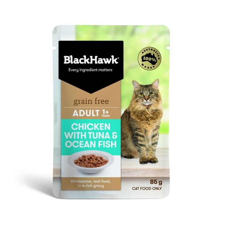 Black Hawk Adult Chicken with Tuna & Ocean Fish Wet Cat Food 12x85g