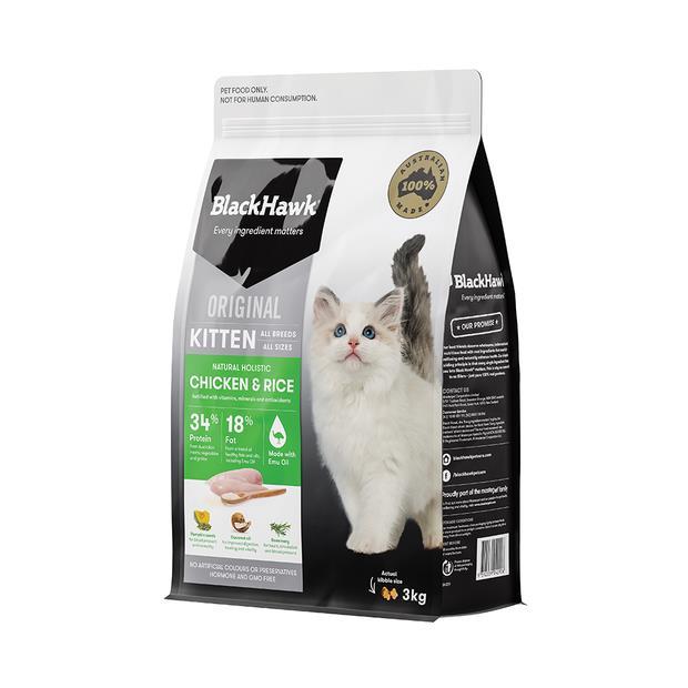 Black Hawk Chicken And Rice Kitten Dry Food 2 X 3kg
