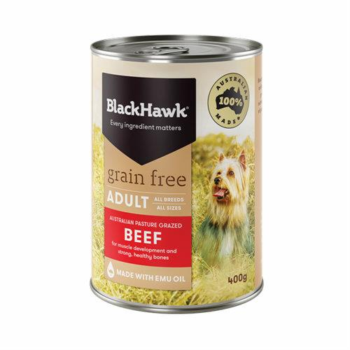 Black Hawk Dog Food Adult Grain Free Beef Cans 12x400g