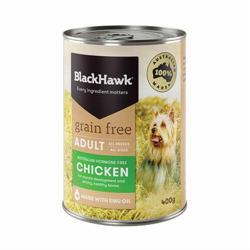 Black Hawk Dog Food Adult Grain Free Chicken Cans 12x400g