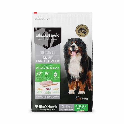 Black Hawk Dog Food Large Breed Adult Chicken and Rice 20kg