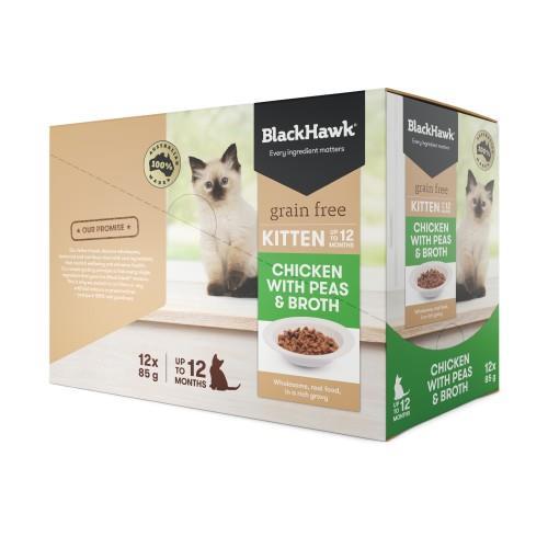 Black Hawk Kitten Chicken, Peas and Broth Pouches 12 x 85g