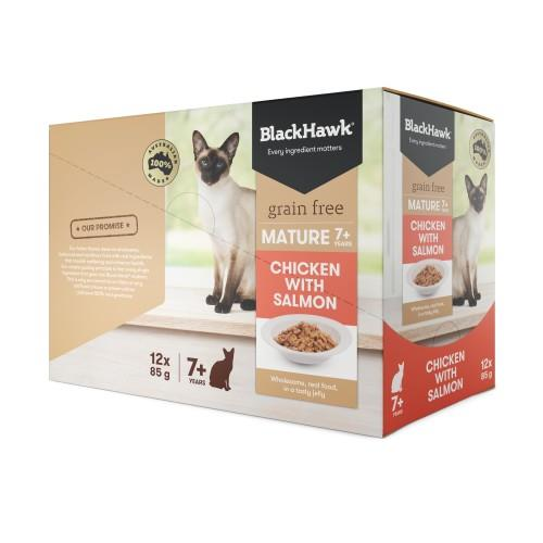 Black Hawk Mature Cat Chicken and Salmon Pouches 12 x 85g