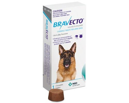 Bravecto Chewable Tablets For Large Dogs 20-40kg 1 Pack (blue)