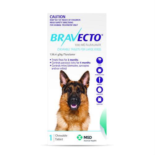 Bravecto Large 20-40kg Blue Dog Flea Treatment 1 chew pack