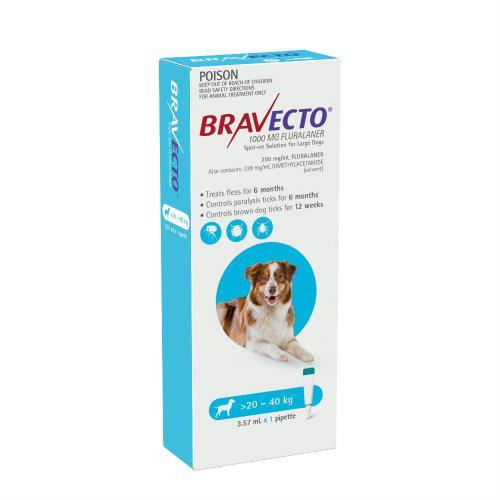 Bravecto Large 20-40kg Blue Spot On Treatment 1 pack