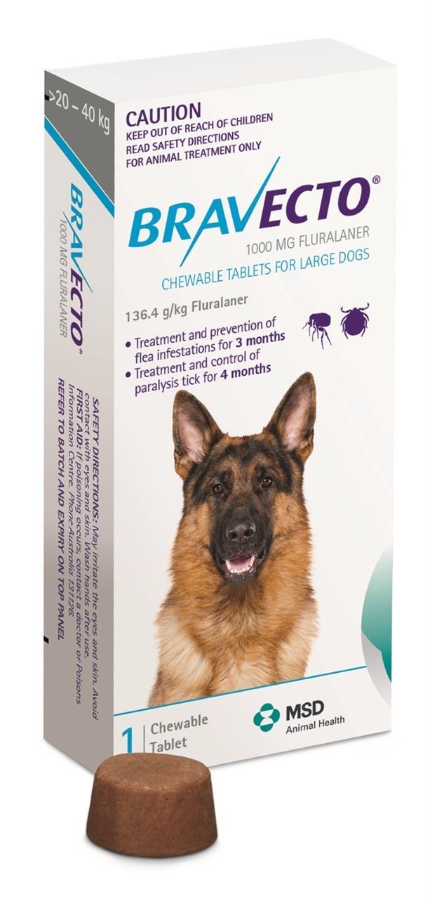 Bravecto Large Dog Blue 20-40kg Single Chew Flea & Tick Control - Large