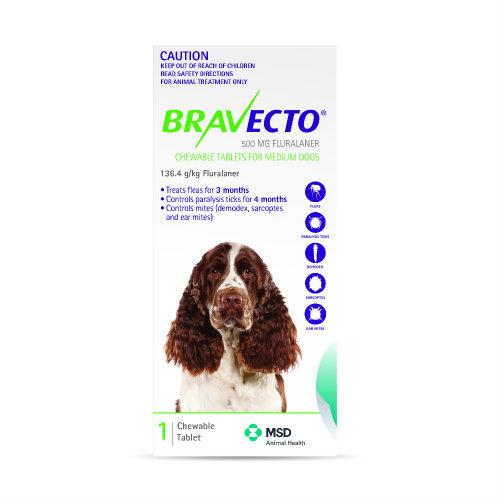 Bravecto Medium 10-20kg Green Dog Flea Treatment 1 chew pack