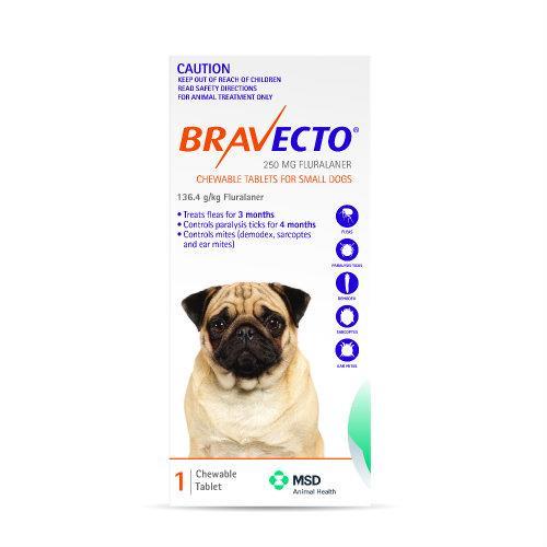 Bravecto Small 4.5-10kg Orange Dog Flea Treatment 1 chew pack