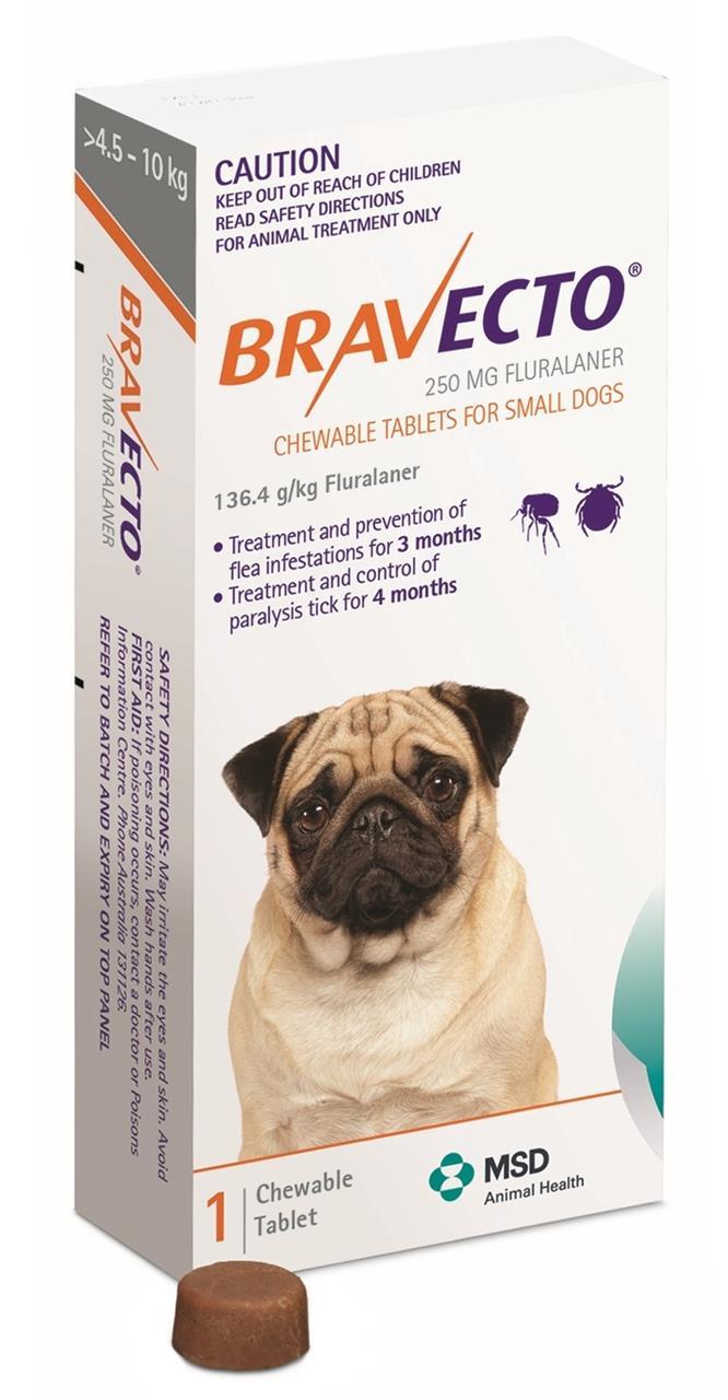 Bravecto Small Dog Orange 4.5-10kg Single Chew Flea & Tick Control - Small