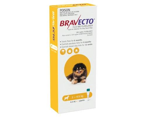 Bravecto Spot-on For Very Small Dogs 2-4.5kg 1 Pack (yellow)