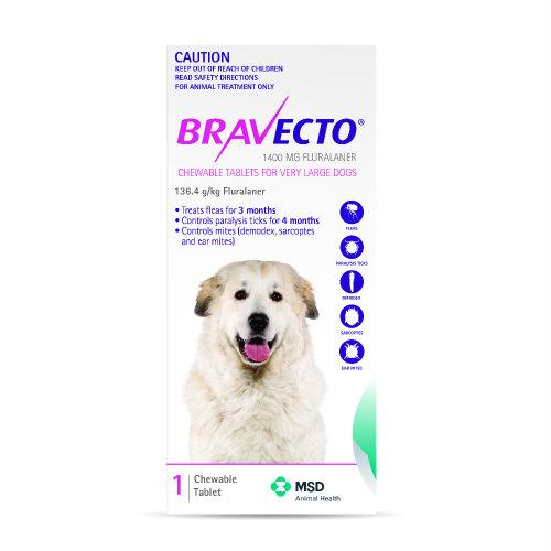 Bravecto Very Large 40-56kg Pink Dog Flea Treatment 1 chew pack