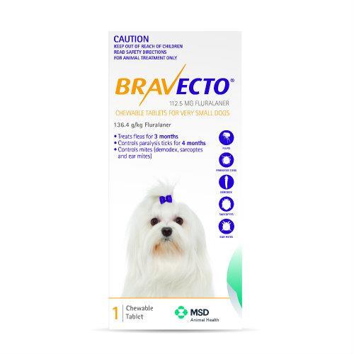 Bravecto Very Small 2-4.5kg Yellow Dog Flea Treatment 1 chew pack