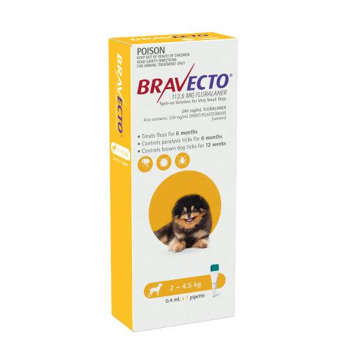 Bravecto Very Small 2-4.5kg Yellow Spot On Treatment 1 pack