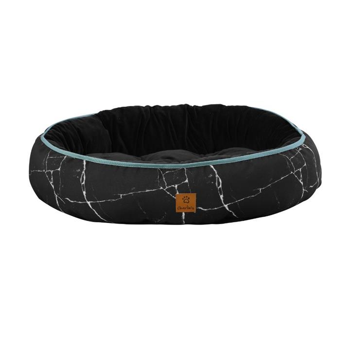 Charlie's Funk Nest Black Marble Dog Bed Medium