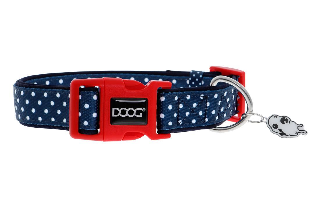 Doog Stella Dog Collar Navy with White Spots Medium