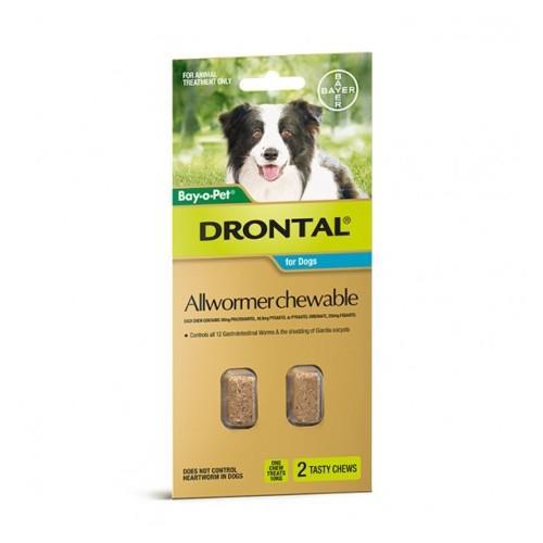 Drontal Allwormer Chew Medium 3-10kg 2 pack
