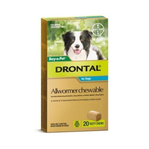 Drontal Allwormer Chew Medium 3-10kg 20 pack