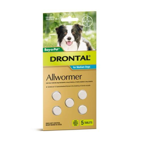Drontal Allwormer Tablets Medium 10kg 5 pack