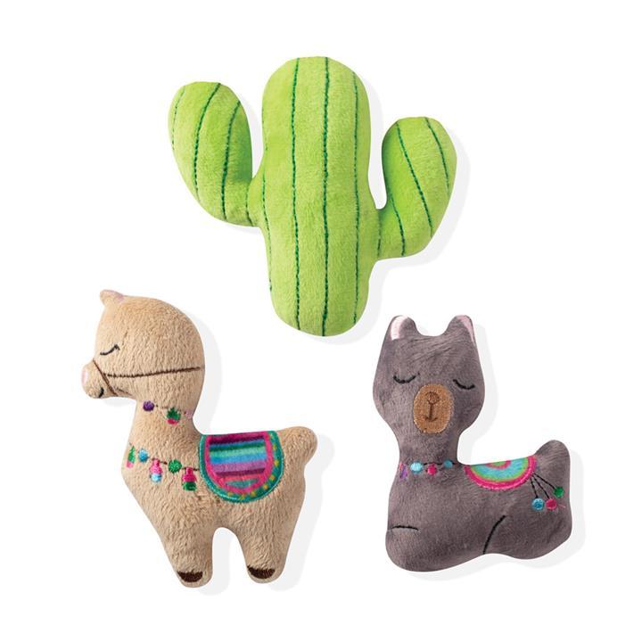Fringe Studio Minis Llama Cactus 3-Piece Plush Dog Toy Set