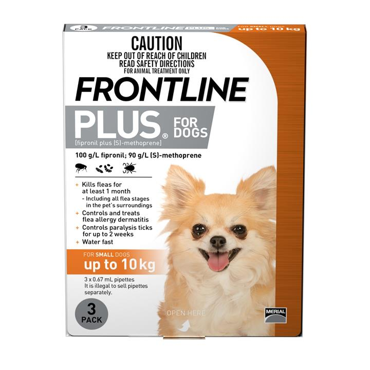 Frontline Plus Flea & Tick Protection for Dogs up to 10kg - 3 Pack